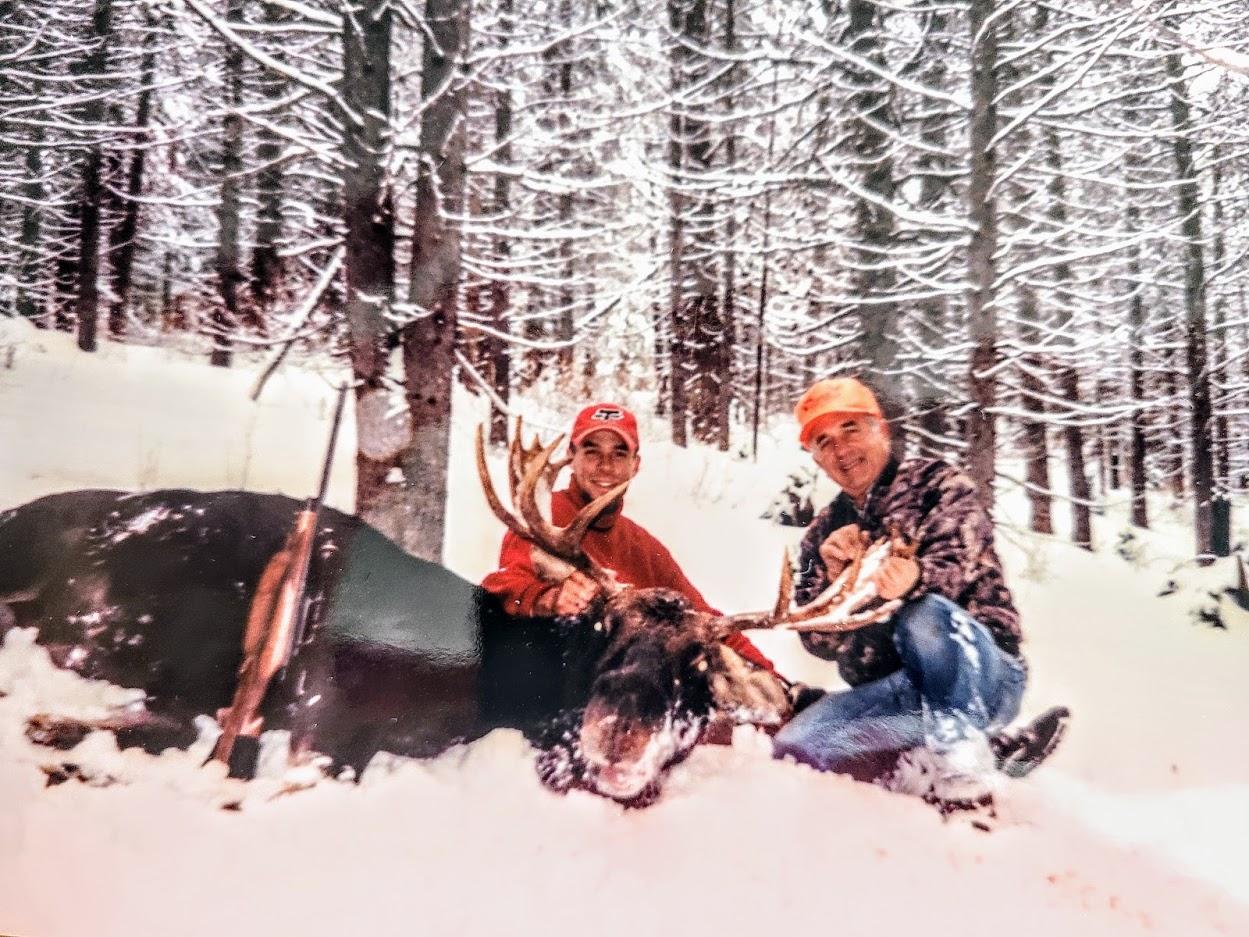 Last picture with Grandpa Ashton and Dan's moose
